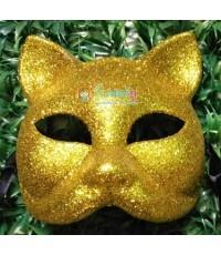 หน้ากากแฟนซี หน้าแมว (สีทอง)