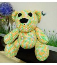 ตุ๊กตาถักไหมพรม น้องหมีทูโทน-เขียวส้ม 12 นิ้ว (Pre order)