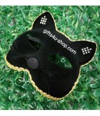 หน้ากากกำมะหยี่ หน้าแมว (สีดำ)