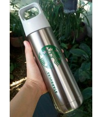 กระบอกน้ำสแตนเลส Starbucks สีเงิน-ฝาขาว (หูหิ้ว 24 oz.)