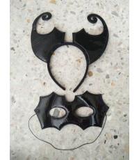 1 เซ็ต สีดำ หน้ากาก+ที่คาดผมปีศาจแดง ที่คาดผมเดวิล ที่คาดผมฮาโลวีน เครื่องประดับ devil headband