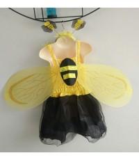 ชุดแฟนซีเด็ก ชุดกระโปรง+ปีกผึ้งน้อย สีเหลือง (ครบเช็ต)