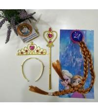 กิ๊บผมเปียอันนา Anna Frozen wig+มงกุฎ+คฑา (สีทอง)