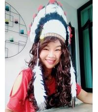 หมวกอินเดียแดง (สีดำแดง)