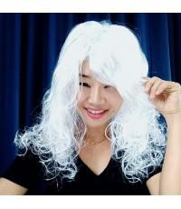 1 อัน สีขาว วิกฟาร่า วิกผมยาวดัดลอน วิกนางงาม วิกคอสเพล วิกผมปลอม วิกแฟนซี Farah Wig fancy