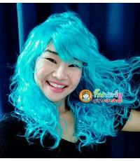1 อัน สีฟ้า วิกฟาร่า วิกผมยาวดัดลอน วิกนางงาม วิกคอสเพล วิกผมปลอม วิกแฟนซี Farah Wig fancy