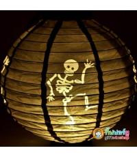 1 อัน Gifts4u-shop Lantern halloween โคมไฟฮาโลวีน ลายโครงกระดูก สีดำ โคมไฟแขวน โคมไฟกระดาษ LED