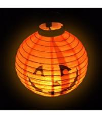 1 อัน Lantern halloween โคมไฟฮาโลวีน ลายฟักทอง สีส้ม โคมไฟแขวน โคมไฟกระดาษ LED