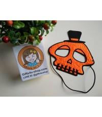 1 อัน สีส้ม หน้ากากหัวกะโหลก หน้ากากรูปกะโหลกผี หน้ากากแฟนซี หน้ากากกำมะหยี่ หน้ากากคอสเพลย์