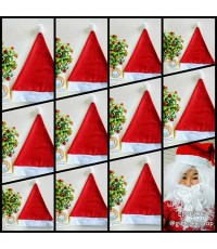 ราคาส่ง 12 ใบ หมวกซานตาครอส หมวกคริสมาสต์ หมวกผ้าใยสำลี Christmas hat