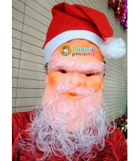 1 อัน หน้ากากซานตาครอส ติดคิ้ว ติดหนวด ติดหมวก หน้ากากยาง หน้ากากคอสเพลย์ หมวก ซานต้า ผ้าใยสำลี