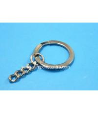ห่วงพวงกุญแจแบนชุบนิเกิ้ล มีโซ่ KB16/4NK