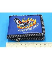 กระเป๋าตังค์No Fearตาไฟ 2 พับมีโซ่ - เล็ก no:6899 คละสี