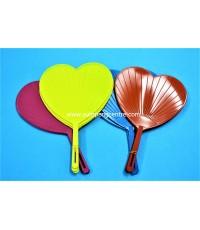 พัดหลากสี รูปหัวใจ (12 ชิ้น)