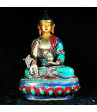 พระไภษัชยคุรุไวฑูรประภาตถาคต พระพุทธเจ้าหมอ เนื้อโลหะปิดทับด้วยหินเทอคอยสฐานกว้ 5.5 นิ้ว สูง 8 นิ้ว
