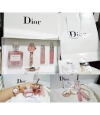 Dior set 5 ชิ้น ชุดมีนาฬิกา กำไลข้อมือ น้ำหอม 30ml. ลิปมันเปลี่ยนสีและลิปกรอส พร้อมถุงห้าง