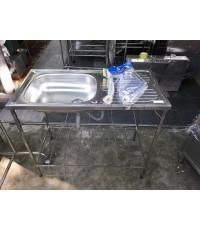 ซิ้งค์ล้างจาน 1 หลุมมีที่พัก สแตนเลสลึก 15cm   แถมก๊อกสายน้ำดีครบพร้อมใช้งาน
