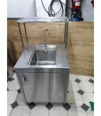 ซิ้งค์ล้างจานสแตนเลสหนาหลุมลึก 25cm แบบตู้สแตนเลสแท้304 ขายถูกๆ แถมก๊อกสายน้ำดีครบพร้อมใช้งาน