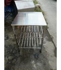 โต๊ะสแตนเลส304 หนาๆ3 ชั้น ขาแข็งแรงโต๊ะวางของโต๊ะเตรียมของเตรียมอาหาร