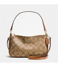 COACH F36674 TOP HANDLE POUCH IN SIGNATURE (Saddle)