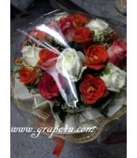ช่อดอกไม้โทนขาวส้ม  B042