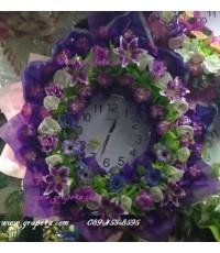 พวงหรีดนาฬิกาโทนขาวม่วง  WT013