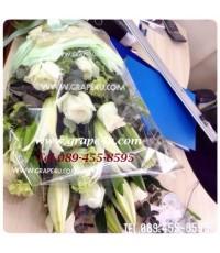 ช่อดอกไม้โทนขาวเขียว B053