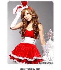 ชุดกระต่ายสีแดง รวมหูกระต่ายและถุงมือ  น่ารักสดใส สองสี แดง ชมพู (สีแดงหมด)