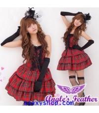 ชุด cosplay  lolita น่ารัก สีแดง พร้อมถุงมือ