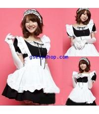 ชุดแฟนซี cosplay maid แม่บ้านกระโปรงบาน ขาวดำ สดใส น่ารัก รวมที่คาดผมและถุงมือ ตามรูปจ้า