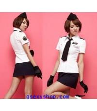 ชุดแฟนซี ตำรวจสาวฮ่องกง ขาวดำ พร้อมหมวก ถุงมือ เน็คไท