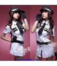 ชุดแฟนซี ตำรวจสาว เต็มยศ สีขาว รวมหมวก เข็มขัด ถุงมือจ้า