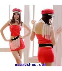 ชุดแฟนซี เดินขบวน พาเหรด march แอร์โฮสเตส  พร้อมหมวก สองสี แดง ดำ