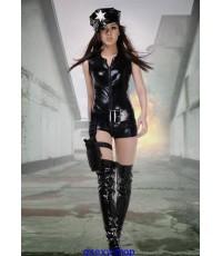 ชุดหนังตำรวจสาว สีดำ สำหรับสาวมั่น พร้อมหมวก