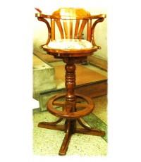 เก้าอี้บาร์ไม้ ผ้าหลุยส์