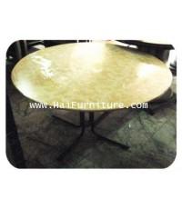 โต๊ะรับประทานอาหารกลม ขาเหล็ก หน้าไม้หุ้มผ้าหนัง