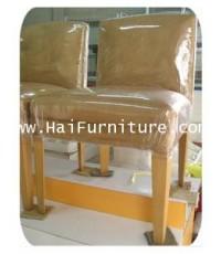 เก้าอี้หุ้มผ้ากำมะหยี่ สีน้ำตาล ขาไม้