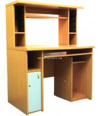 โต๊ะคอมพิวเตอร์ไม้ ผิว PVC ทรงสูง สีบีช