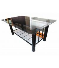 โต๊ะรับแขกขาเหล็กสีดำ กระจกสีชา