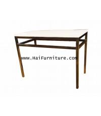 โต๊ะขาสเตนเลส หน้าไม้ทาสีขาว