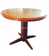 โต๊ะไม้ยางขาเดี่ยว กลม สีโอ๊ค