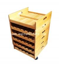 ชั้นวางไวน์ แยกได้ มีล้อ วางขวดได้ 2 ข้าง 73*47*49 ซม.