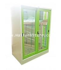 ตู้เสื้อผ้าเหล็กบานเลื่อนกระจก เตี้ย Grade B 91.5*56*122.5 cm