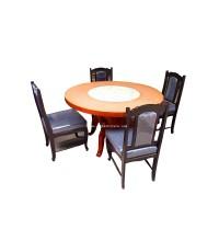 โต๊ะอาหารไม้สักกลม (เฉพาะโต๊ะเท่านั้น) ปี 1950 122*75 ซม.