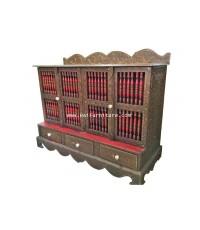 ตู้ไม้แกะสลักอย่างพม่า ประดับกระจก  120*44*88 ซม.