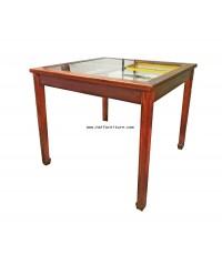 โต๊ะอาหารไม้เนื้อหน้ากระจก (โต๊ะเล่นไพ่นกกระจอก) ประยุกต์ 90*90*76 ซม.