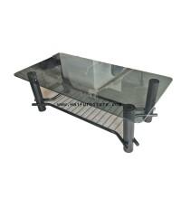 โต๊ะกลาง หน้ากระจกสีชา อย่างหนา 122*61*41 ซม.