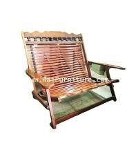 เก้าอี้ไม้ระแนง ชิงชัน พับได้ 114*72*92 ซม.