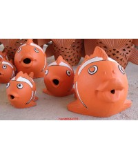ปลาการ์ตูนชุด 3 ตัว (งานดินเผา)