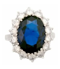 diana engagement inspired ring with blue sapphire cz